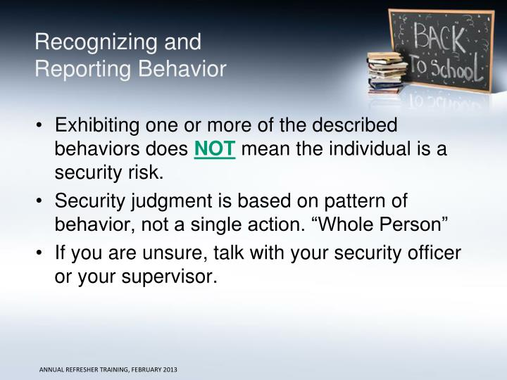 Recognizing and Reporting Behavior