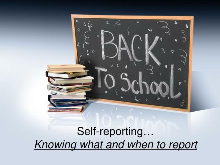 Self-reporting…