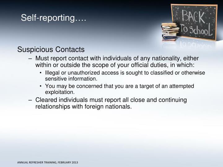 Self-reporting….