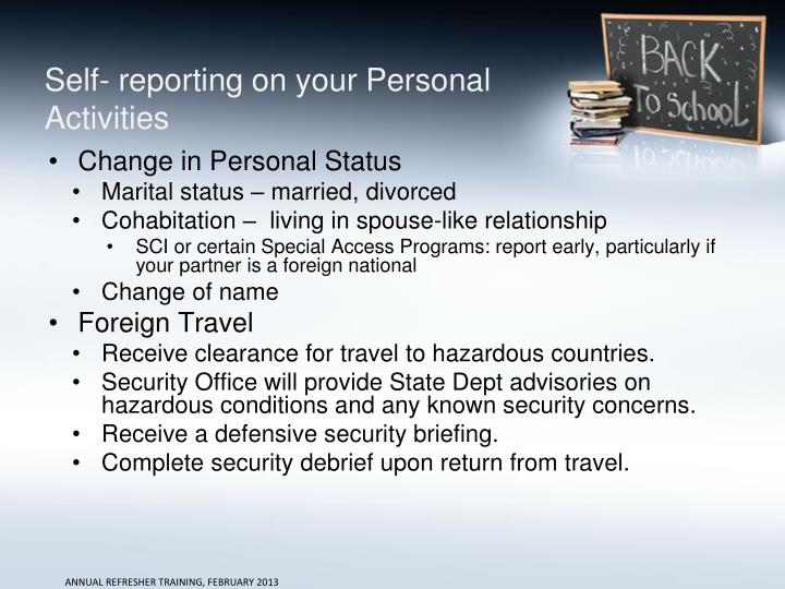 Self- reporting on your Personal Activities
