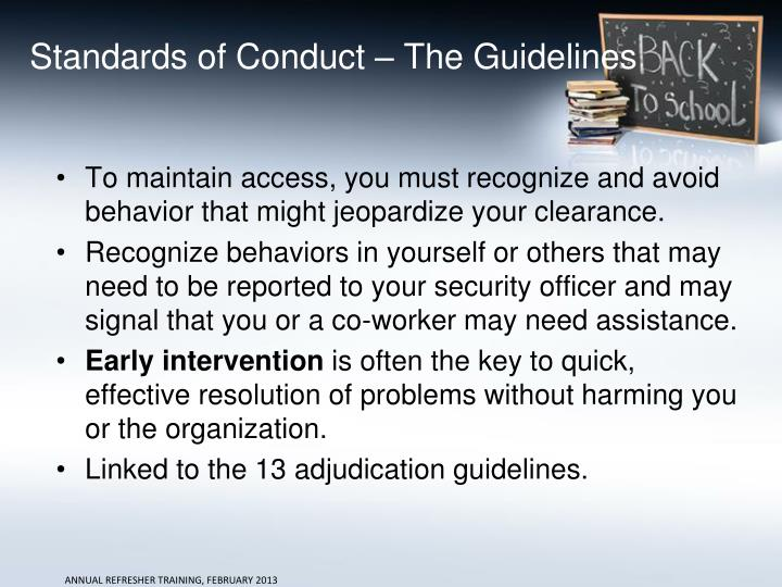 Standards of Conduct – The Guidelines