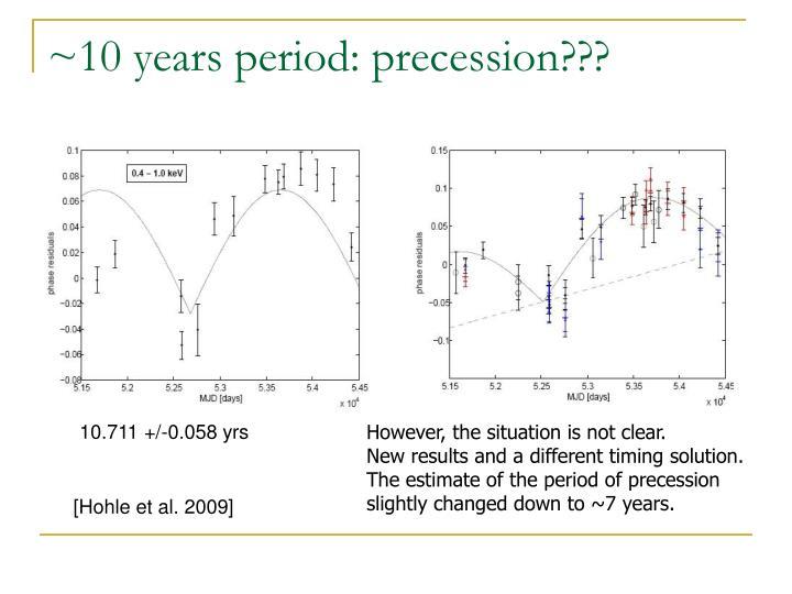 ~10 years period: precession???