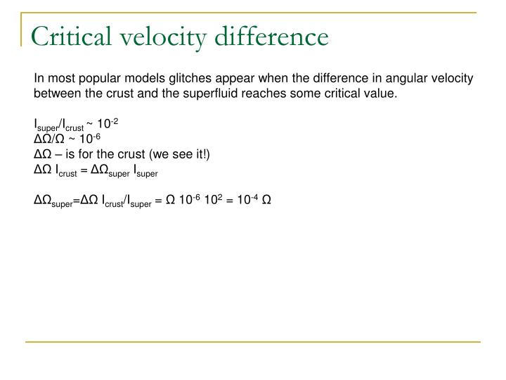 Critical velocity difference