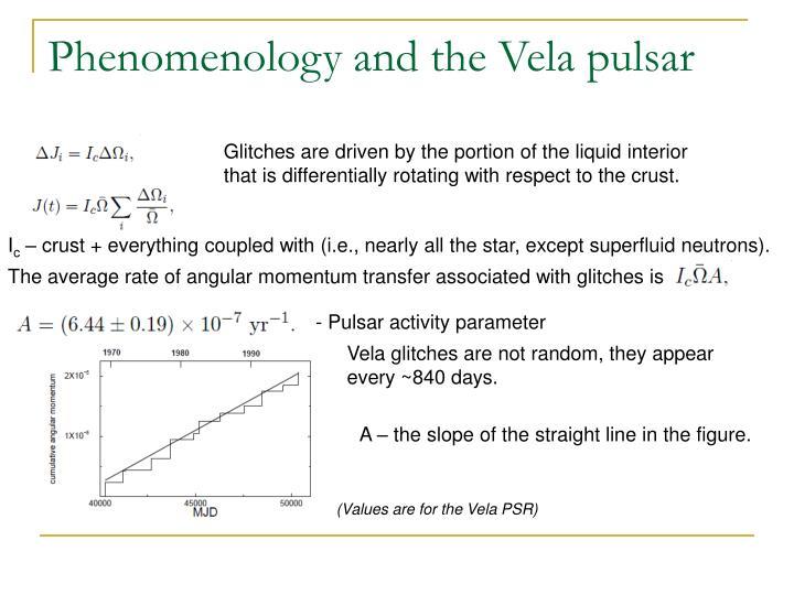 Phenomenology and the Vela pulsar
