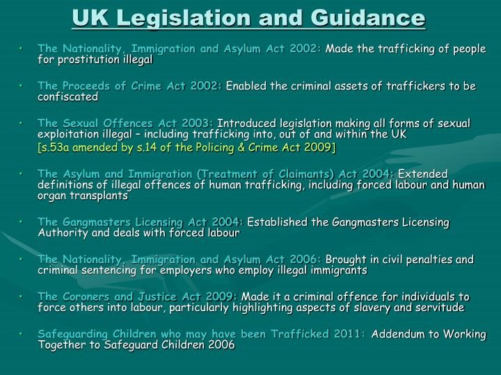 UK Legislation and Guidance