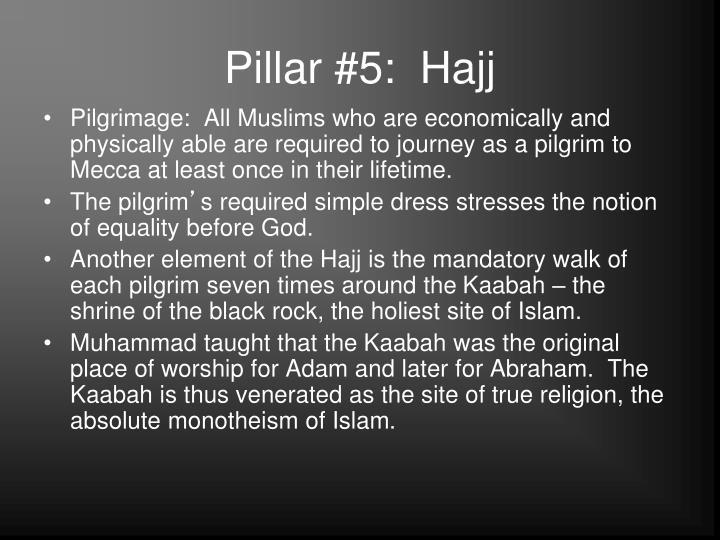 Pillar #5:  Hajj