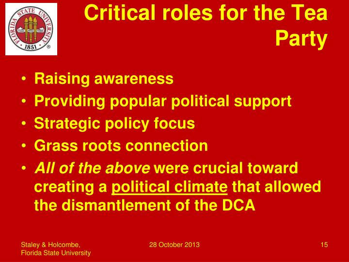 Critical roles for the Tea Party