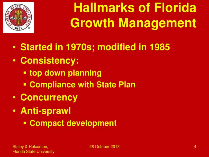 Hallmarks of Florida Growth Management