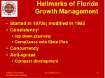 hallmarks of florida growth management