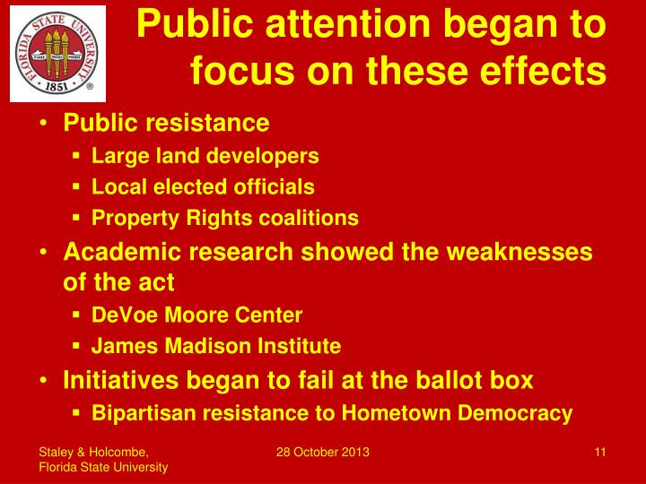 Public attention began to focus on these effects