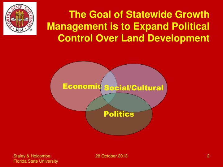 The goal of statewide growth management is to expand political control over land development