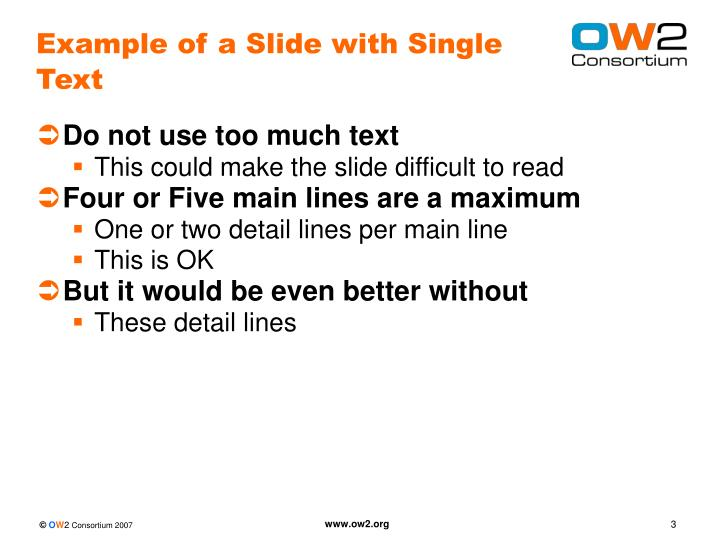 Example of a slide with single text
