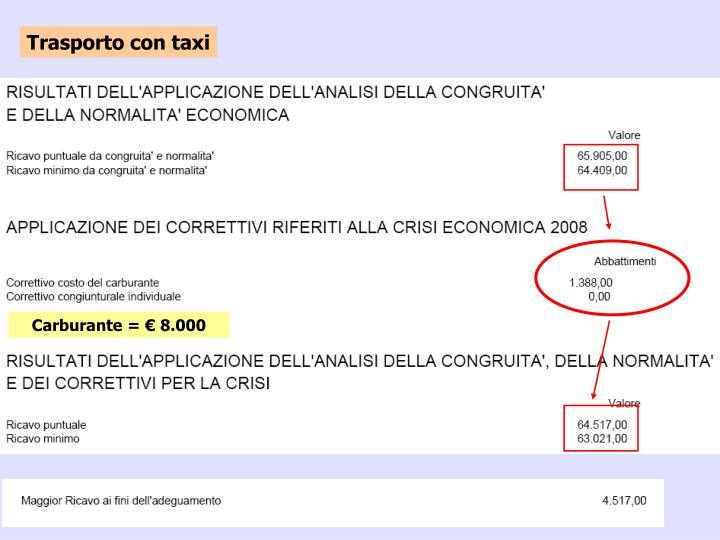 Trasporto con taxi