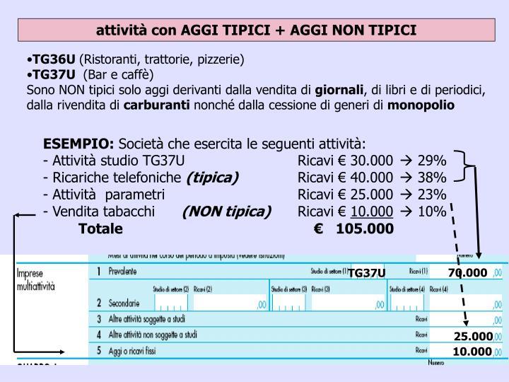 attività con AGGI TIPICI + AGGI NON TIPICI