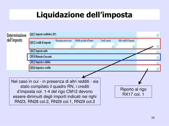Liquidazione dell'imposta