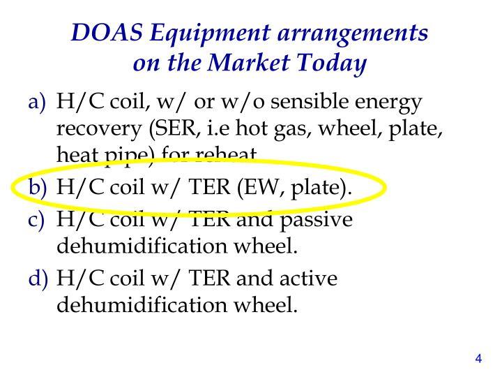 DOAS Equipment arrangements