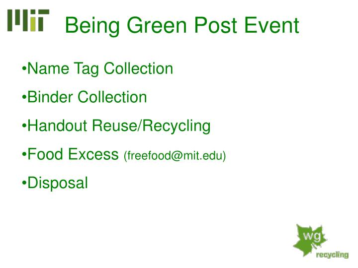 Being Green Post Event