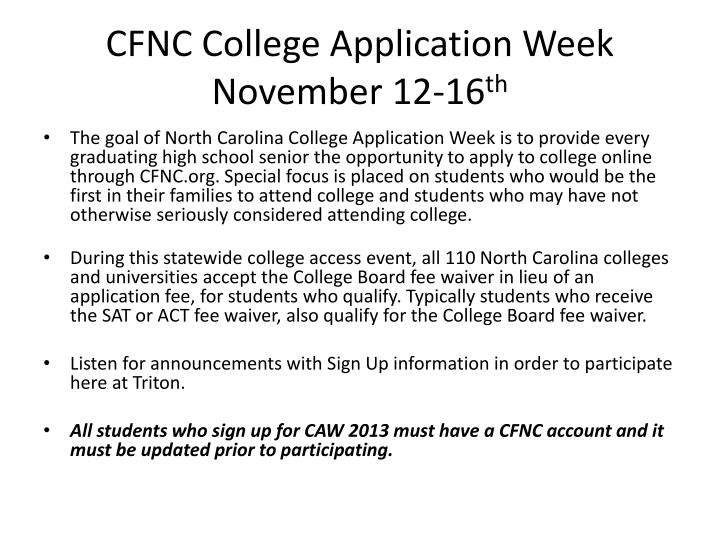 CFNC College Application Week
