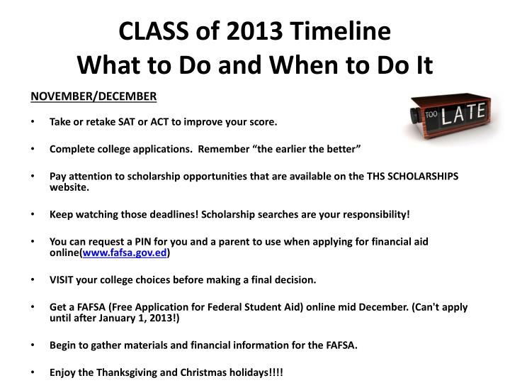 CLASS of 2013 Timeline