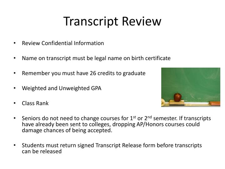 Transcript Review