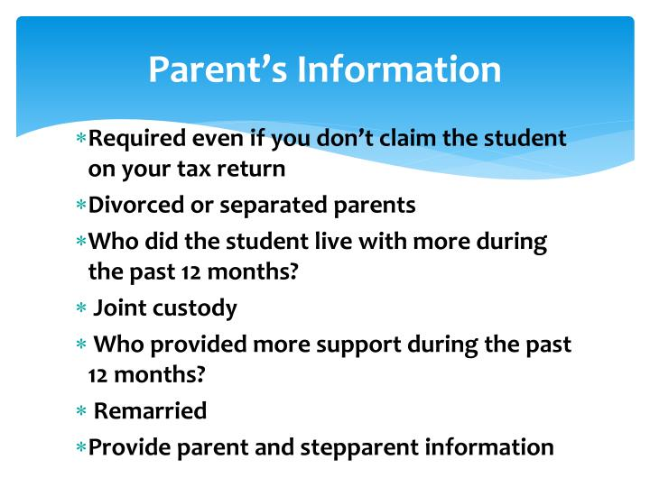Parent's Information