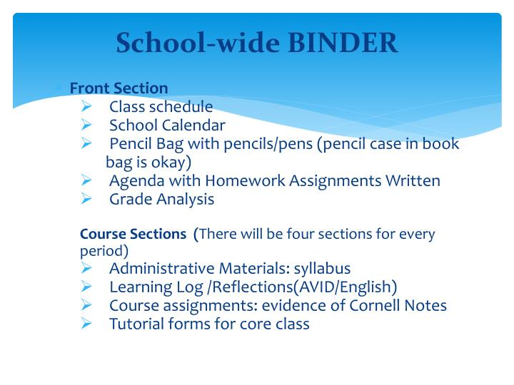 School-wide BINDER