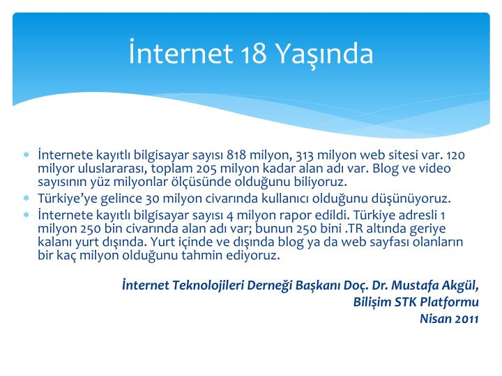 İnternet 18 Yaşında