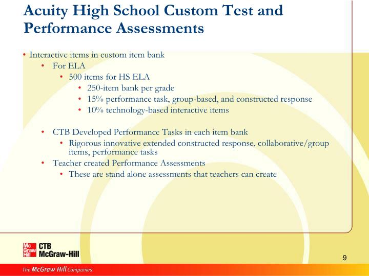 Acuity High School Custom Test and Performance Assessments