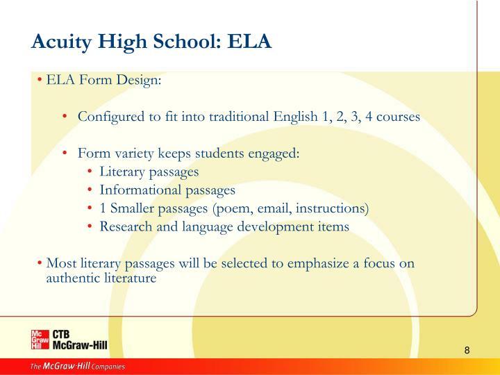 Acuity High School: ELA