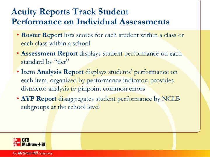 Acuity Reports Track Student Performance on Individual Assessments