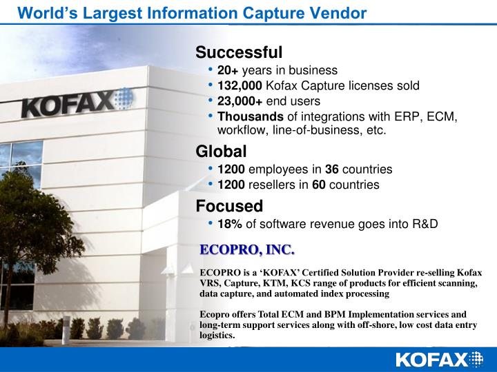 World's Largest Information Capture Vendor