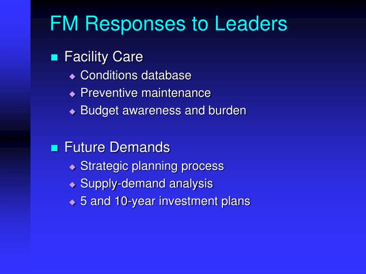 FM Responses to Leaders