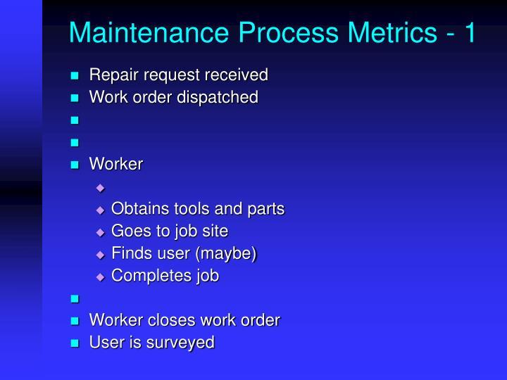 Maintenance Process Metrics - 1