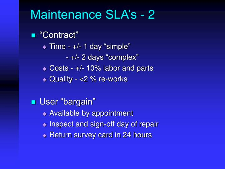 Maintenance SLA's - 2
