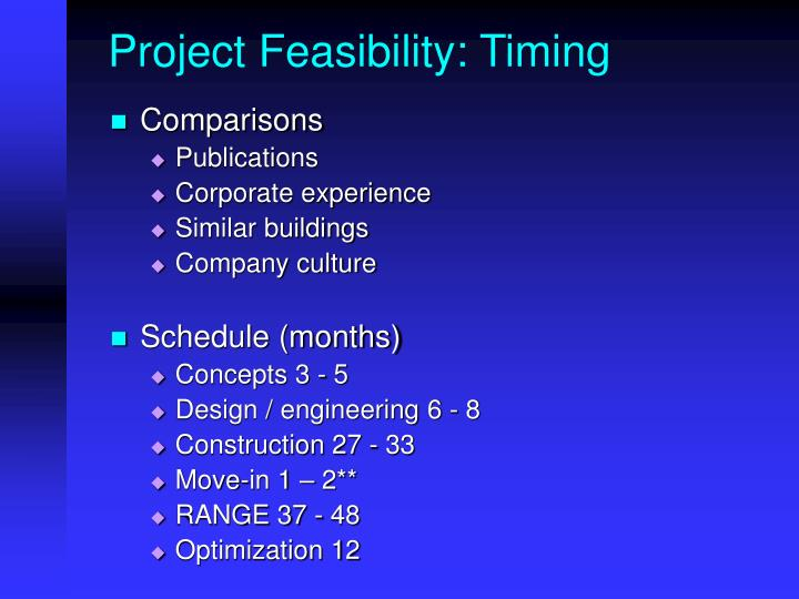 Project Feasibility: Timing