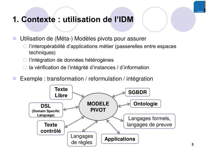 1. Contexte : utilisation de l'IDM