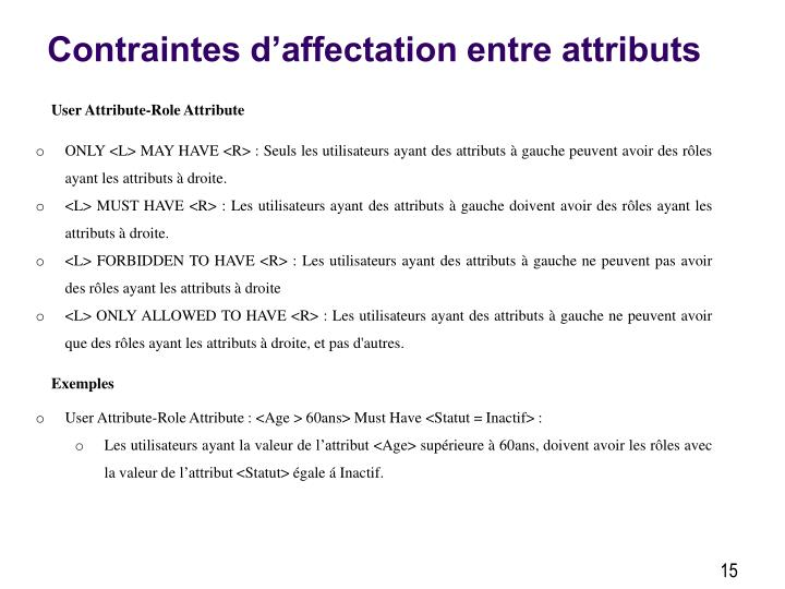 Contraintes d'affectation entre attributs