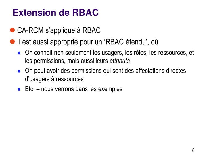 Extension de RBAC