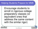 helping students prepare for mme1
