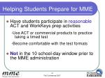 helping students prepare for mme2