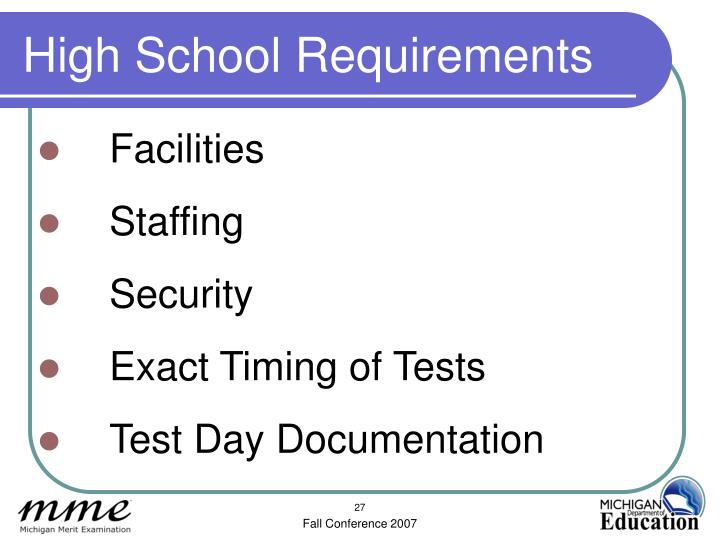 High School Requirements