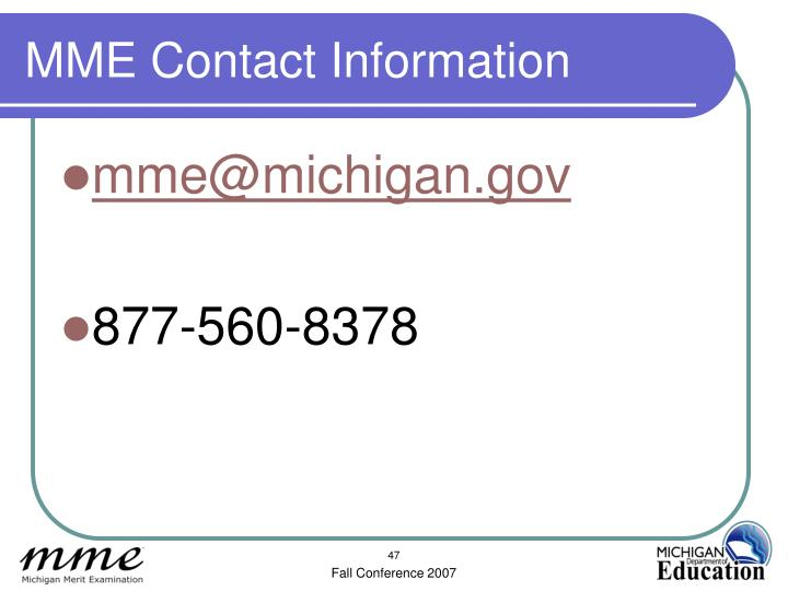 MME Contact Information
