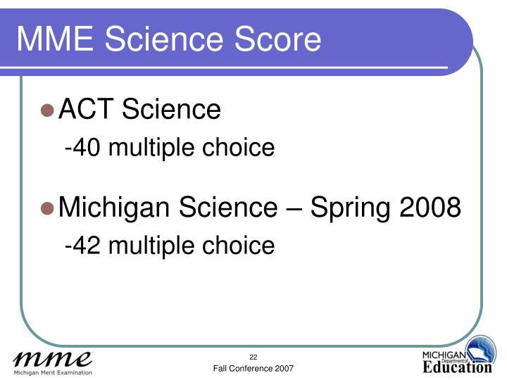 MME Science Score