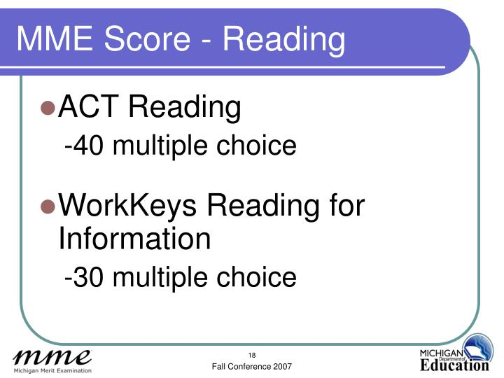 MME Score - Reading