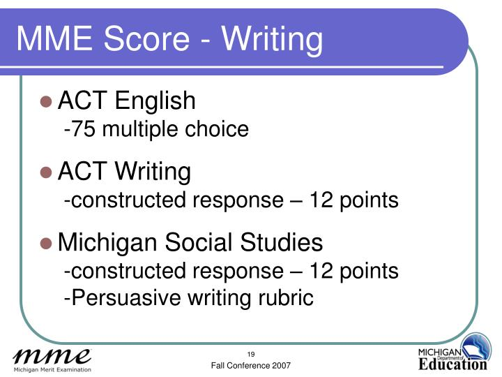 MME Score - Writing