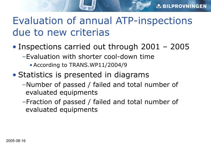 Inspections carried out through 2001 – 2005