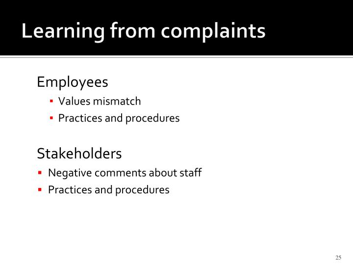 Learning from complaints