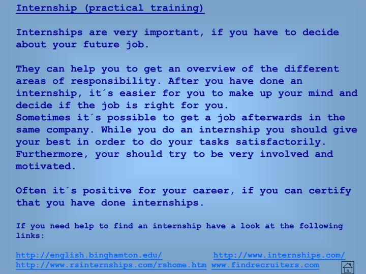 Internship (practical training)