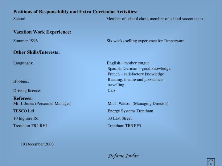 Positions of Responsibility and Extra Curricular Activities: