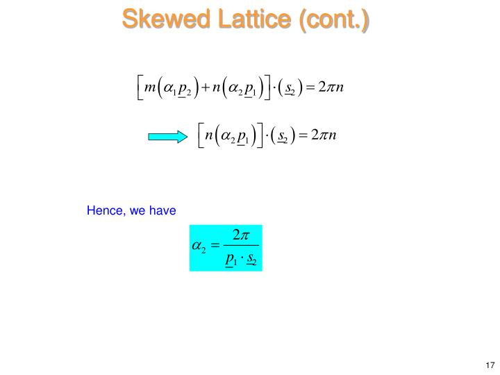 Skewed Lattice (cont.)